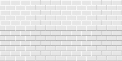 White metro tiles seamless background. Subway brick horizontal pattern for kitchen, bathroom or outdoor architecture vector illustration. Glossy building interior design tiled material