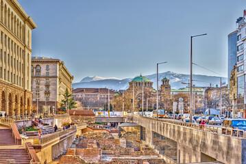Sofia, Bulgaria - April 2021 : Historical center in springtime, HDR Image