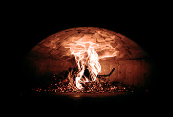 Italian pizza in the oven Fire flame in the furnace