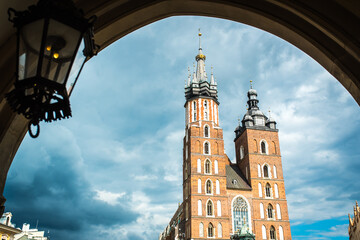 tourist architectural attractions in the historical square of Krakow
