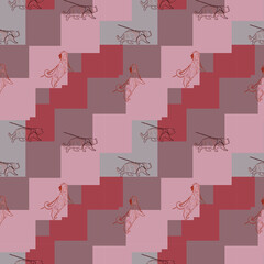 seamless pattern with cats.Pint for fabric, wrapping paper. orange wallpaper. background. Red Cat. meow. Kawai, cute. vector eps 10