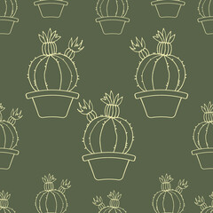 Background with cactus. Seamless pattern. Cactus in a pot. Vector. Green Wallpaper. Swamp color. Khaki.