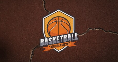 Composition of basketball tournament text and banner over brown cracked distressed surface