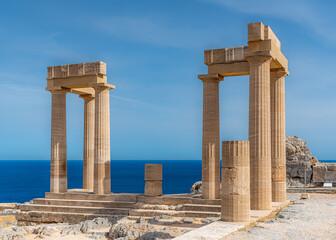 Rhodes Acropolis of Lindos Stoa of Psithyros Ruins Landscape
