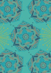 Composition of blue floral pattern design repeated on turquoise blue background