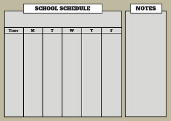 Composition of school schedule and notes text, with days, time and grid in black, on grey