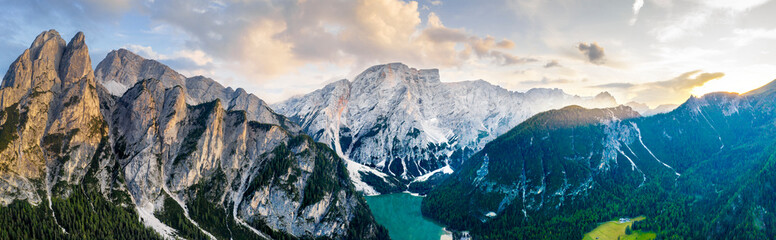 Braies lake sunset aerial panorama