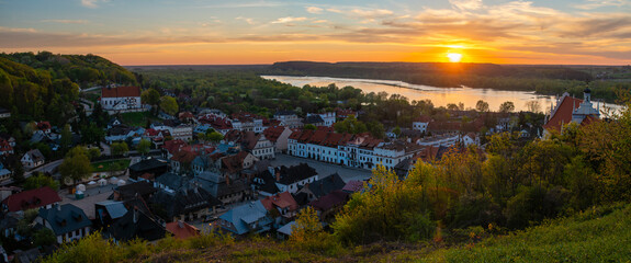 Kazimierz Dolny on the Vistula River. Beautiful town in Poland during sunset. Panorama.