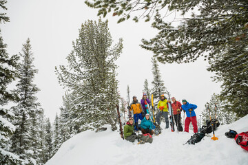 Portrait of backcountry skiers in the mountains