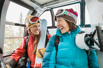 Female skiers laughing in gondola