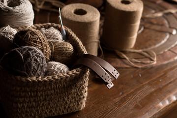 Set for crochetting from jute hobby