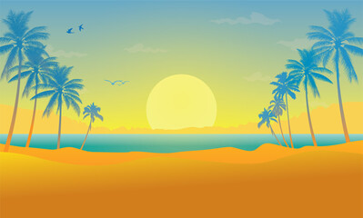 Landscape With Coconut Palm Trees Sunset Background_3