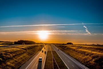 Autostrada A4 Powiat Dębicki zachód słońca