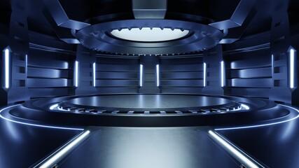 Empty light blue studio room futuristic Sci Fi big hall room with lights blue, Future background for design.