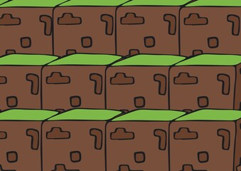 Composition of tightly grouped rows of grass topped earth brown building blocks