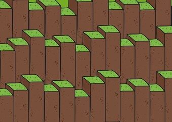 Composition of rows of green topped earth brown blocks of varying height