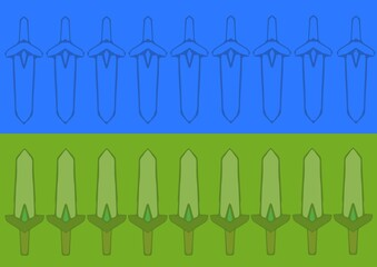 Composition of repeated sword motif on blue and green background
