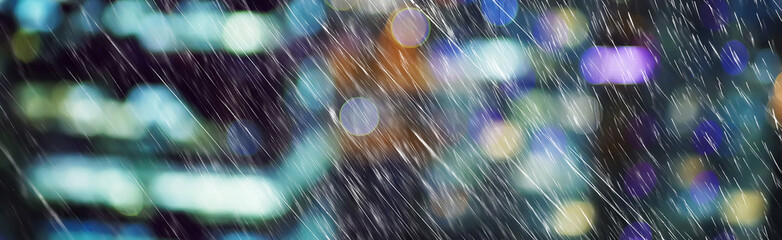 autumn rain background city / October background with raindrops in the city, abstraction blurred seasonal background of autumn