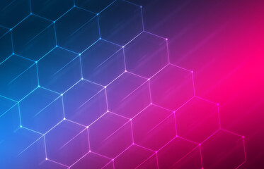 Dark ultraviolet abstract background. Neon geometric shapes, lines.