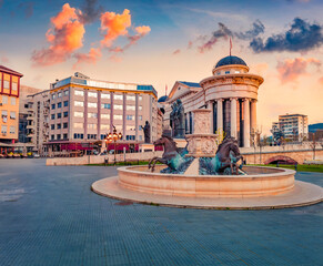 Сharm of the ancient cities of Europe. Spectacular sunset on capital of North Macedonia - Skopje. Traveling concept background.