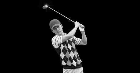 Composition of asian male golf player with golf club with copy space in black and white