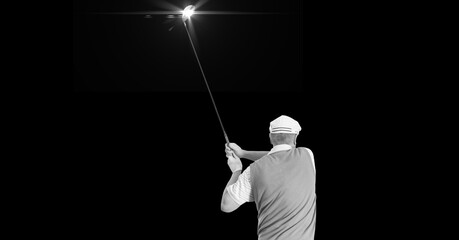Composition of male golf player with golf club with copy space in black and white