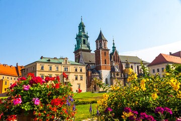 Beautiful view of Wawel Royal Castle complex in Krakow city, Poland. The most historically and culturally important site in Poland