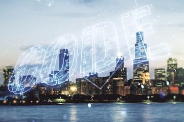 Code word hologram on Chicago cityscape background, international software development concept. Multiexposure