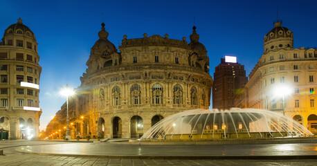 The Ferrari Square is cultural landmark of night Genoa in Italy outdoor.