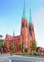 Summer cityscape - view of the Basilica of St. Anthony of Padua in Rybnik, the Silesian Voivodeship, in southern Poland