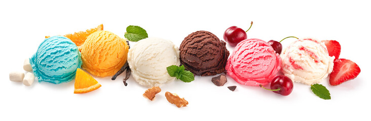 Assorted of ice cream scoops on white background. Colorful set of ice cream scoops of different flavours. Ice cream isolated with nuts, fruits and berries.