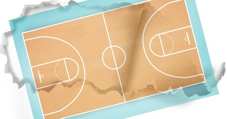 Composition of orange basketball with crumpled paper surface