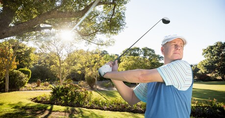 Composition of caucasian man playing golf striking with golf club