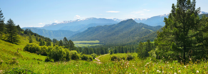 Panoramic view of the mountain valley from the pass