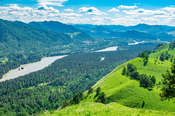 view from a high hill, summer sunny landscape of a mountain valley of Siberian nature