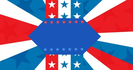 Blue banner with copy space against american flag design background