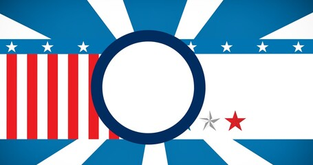 White round banner with copy space against american flag design background