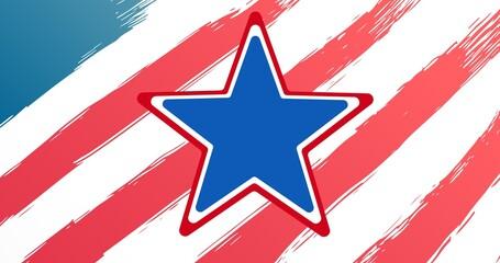 Blue star against against american flag design in background