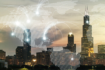 Double exposure of abstract digital world map hologram with connections on Chicago city skyscrapers background, research and strategy concept