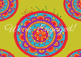 We are engaged text against colorful decorative floral designs on yellow background