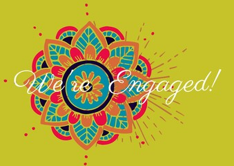 We are engaged text against colorful decorative floral design on yellow background