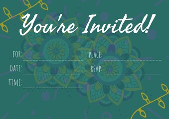 You are invited text with copy space against decorative colorful floral designs on green background