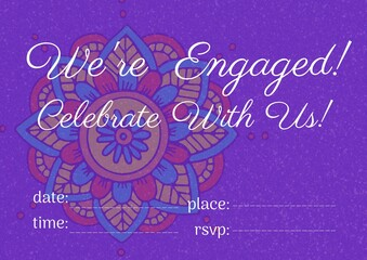 Engagement and celebration text with copy space against colorful floral design on purple background