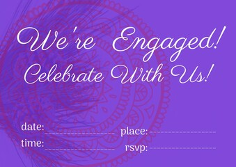 Engagement and celebration text with copy space against floral design on purple background