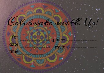 Celebrate with us text with copy space against white spots over floral design on grey background