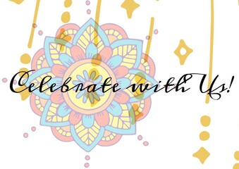 Celebrate with us text against colorful decorative floral design on white background