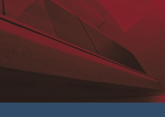Composition of red tint over interior architecture detail in modern building