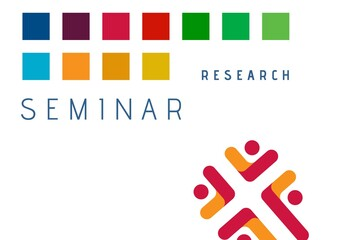 Composition of research seminar text with colourful squares and red design detail, on white