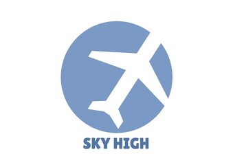 Composition of sky high text, with white aeroplane in blue circle on white