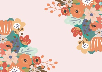 Composition of floral frame design with central copy space and pink background